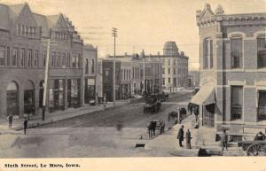 Le Mars Iowa Sixth Street Scene Historic Bldgs Antique Postcard K54686