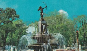 Diana the Huntress Fountain Mexico Night View Postcard