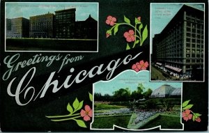 1910s Greetings from CHICAGO Illinois Postcard Big Letter / Multi-View - Unused