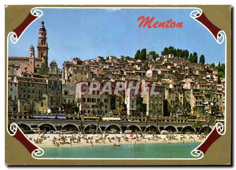 Postcard Modern Reflections of the blue Riviera Menton Old Town