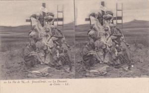Stereoscope Postcard ; La Vie de N.-S. Jesus-Christ.-La Descente de Cruix , 0...
