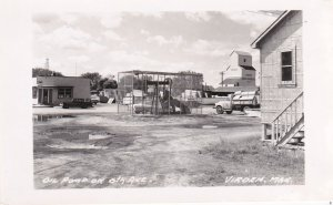 RP: VIRDEN , Manitoba , Canada , 1930-40s; Oil Pump in middle of 6th Avenue