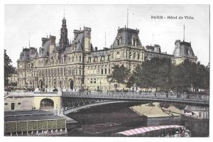 Paris France Hotel de Ville Vintage Postcard City Hall