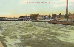 G3070 IN, South Bend St. Joe River The Dam Postcard