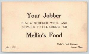 Boston MA~Mellin's Food Company~Jobber is Stocked~Berger Jr Columbus OH~1912