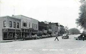 Vine Street North West Union Iowa IA Tegens 5/10 Garvin old cars RPPC Postcard