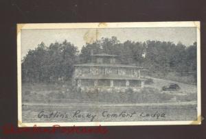GRAVOIS MILLS MISSOURI GATLIN'S ROCKY COMFORT LODGE B&W ADVERTISING POSTCARD
