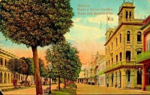 Habana Cuba Prado y Casino Espanoi Prado and Spanish Club Litho 1900's PC62