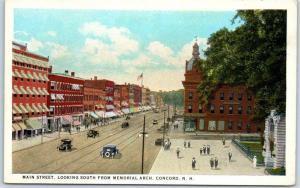 Concord, New Hampshire Postcard MAIN STREET South from Memorial Arch c1930s
