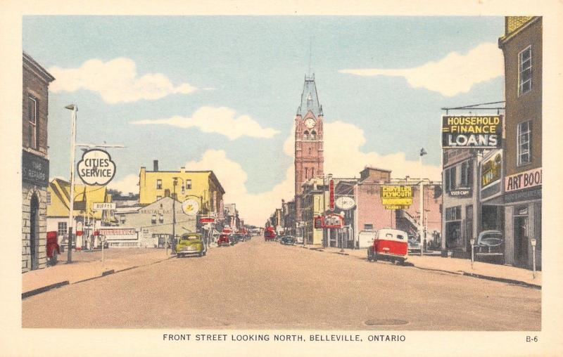 Belleville Ont~Front Street~Cities Service Gas Station~Chrysler Plymouth~1940s