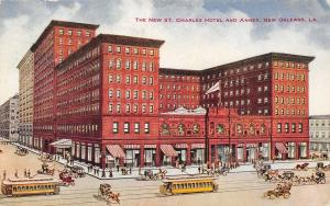 New Orleans Louisiana~St Charles Hotel & Annex~Artist Drawn~1910 Postcard