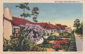 North Carolina Southern Pines May Street Residential Scene Curteich