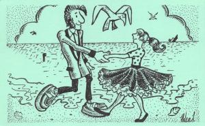 Postcard Fun Funny Novelty Comic, Teddy Boy and Girl Dancing on Beach Green 26A