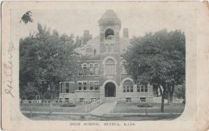Kansas Ks Postcard 1915 SENECA High School Building