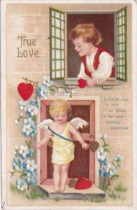 Valentine's Day Cupid and Young Boy 1913