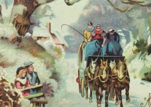 John Winsch Christmas Wishes Vintage 1910 Postcard Horse Sleigh Snow Embossed