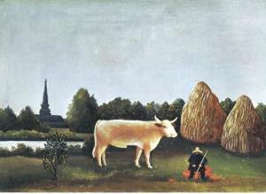 Japanese Landscape Ohara Museum of Art Japan Person Oxen Artwork Postcard