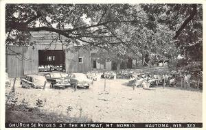 Wautoma WI Church Services Retreat Mt. Morris Old Cars Real Photo RPPC Postcard