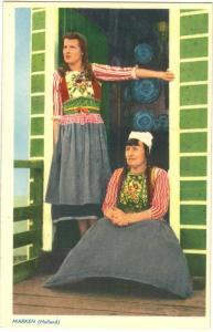 Netherlands, Marken, Dutch women in traditional cloths,