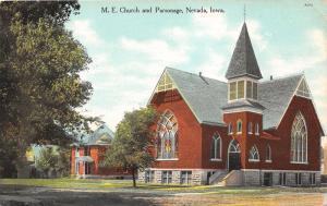 Nevada Iowa~ME Church & Parsonage~Stained Glass Windows~Unpaved Street~1910 Pc