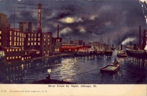 RIVER FRONT BY NIGHT, CHICAGO, IL 1908