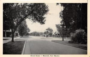 Roswell New Mexico~Street Scene~Tall Trees Shade Road~Homes~1946 B&W Postcard