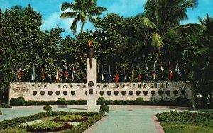 Vintage Postcard John F Kennedy Memorial Torch Of Friendship Miami Florida FL