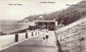 PC CPA MOZAMBIQUE, LOURENCO MARQUES, POLANA BEACH, Vintage Postcard (b26746)