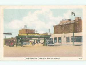 1951 postcard TUNNEL ENTRANCE Windsor Ontario ON W6449