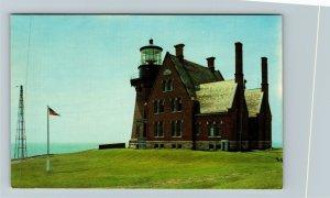 Block Island RI-Rhode Island, Southeast Lighthouse, Chrome Postcard