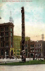 Washington Seattle Pioneer Square With Totem Pole
