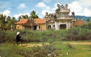 Ancient Temple SOUTH VIETNAM Bicycle c1960s Vintage Postcard