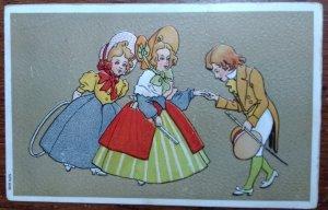 Embossed postcard of man & women