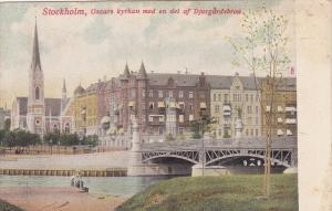 Stockholm , Sweden , 00-10s , Oscars kyrkan med en del af Djurgardsbron