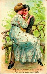 Vtg Postkarte Romanze Vergoldet Geprägt'  Why Wird Zwei Herzen IN One Brust Lie