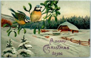 1910s CHRISTMAS Postcard Birds in Tree / Winter House Scene Made in Germany