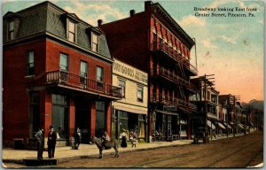 1911 PITCARIN, Pennsylvania Postcard Broadway Looking East from Center Street