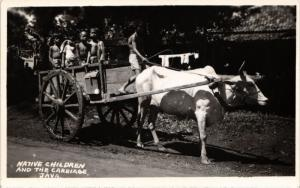 INDONESIA PC DUTCH INDIES REAL PHOTO Native Children and the Carriage J (a1565)