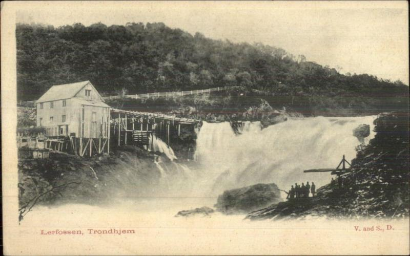 Trondhjem Norge Norway Lerfossen Ship SYSt. Sunniva on Backside c1905 Postcard