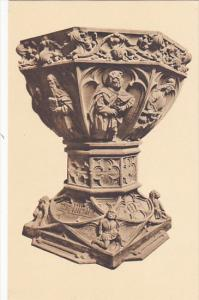 Switzerland Basel Muenster Spaetgotischer Taufstein von 1465