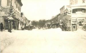 1920s Winter snow street Scene Palace of Sweets Pharmacy Nammacher Doctor RPPC