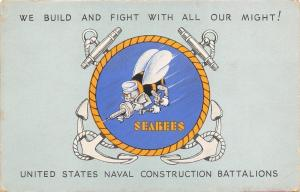 Camp Peary VA~Seabees~Construction Battalion~Symbol~WWII US Navy Postmark~'43 PC