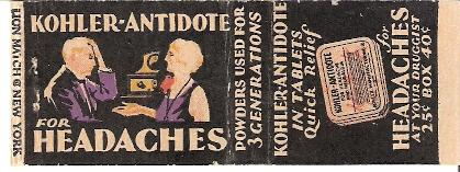 Kohler Antidote match book cover