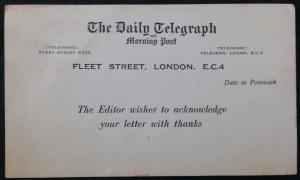 Daily Telegraph Acknowledgement of Letter Postcard, 3d Franked Rate, 1965