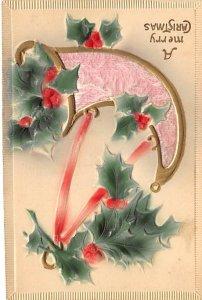 Christmas Holiday Postcard Vintage Xmas Post Card Silk Material on horn Writi...