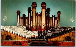 Salt Lake City, Utah Postcard Mormon Tabernacle Choir w/ Organ Mirro-Krome 1950s