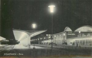 Romania Constanta railway train station early postcard