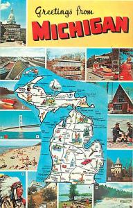 Greetings from Michigan MI, Scenes & Map Chrome Postcard