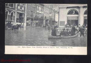 WHEELING WEST VIRGINIA 1907 FLOOD DISASTER DOWNTOWN STREET SCENE POSTCARD