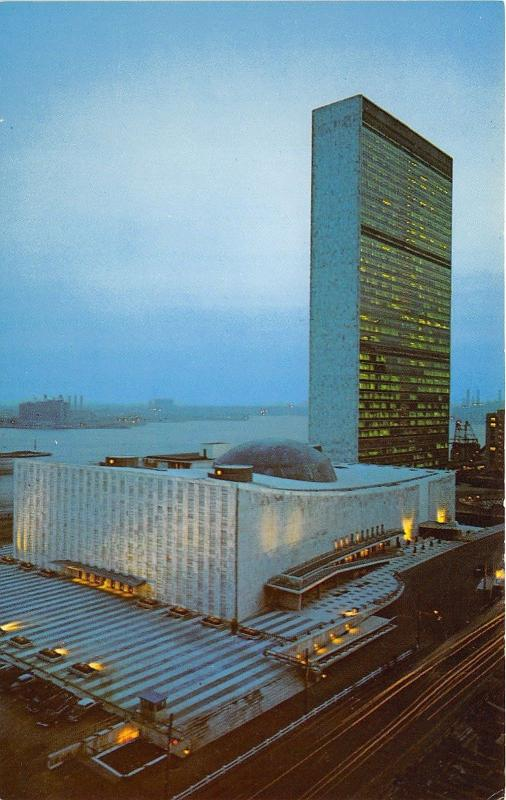 New York City~United Nations Building~East River in Distance~Time Lapse Postcard